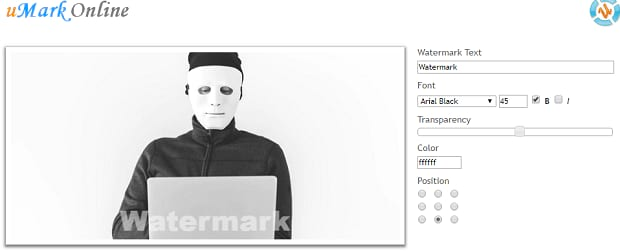An example of a watermark added using uMark Online