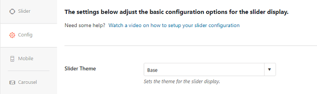 The slider theme suggestion box within the config tab of a Soliloquy slider