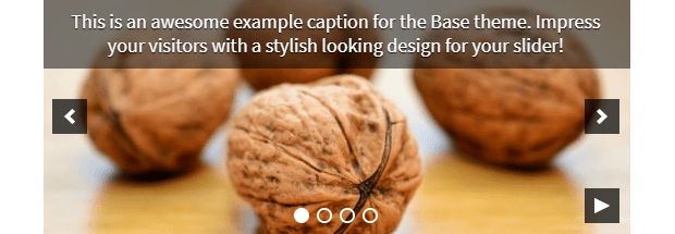 An example of the Basic slider theme, with a close-up image of some walnuts