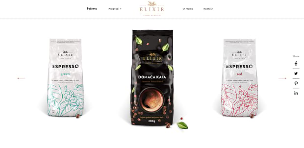 The Elixir product slider, featuring bags of different kinds of coffee on a white background