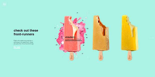 Drip Pop food slider, featuring various ice cream bars on an aqua background