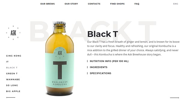 ASK Brewhouse product slider, featuring their Black T brand bottle of tea