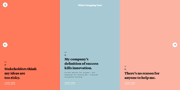 Innovation's full-width slider, with bright colors and a simple design