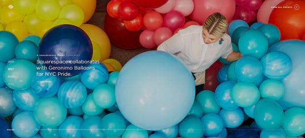 SquareSpace's full-width video slider, featuring brightly colored balls