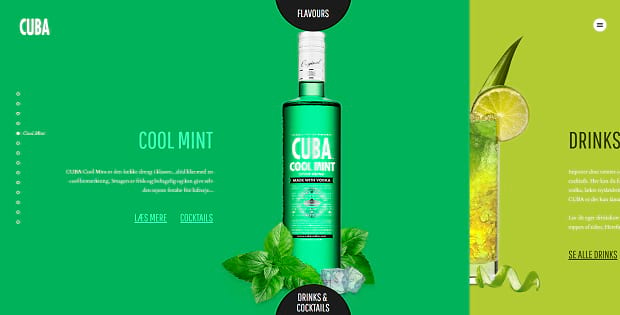 Cuba Vodka's double slider, featuring bright colors and images of their drinks