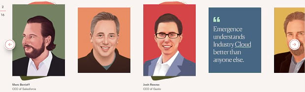 Emergence's portfolio slider, featuring illustrations of several people on colorful backgrounds