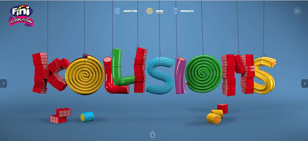 Fini Sweet's colorful slider, spelling the word 'Kollisions' in different pieces of candy