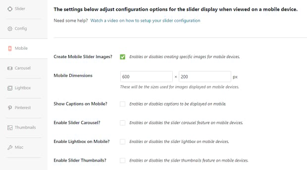 The Soliloquy mobile settings tab