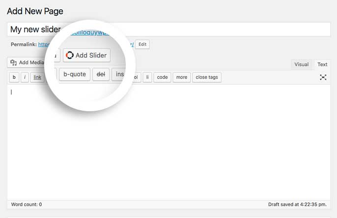 Select the Add Slider button when editing your posts or pages to insert a slider.