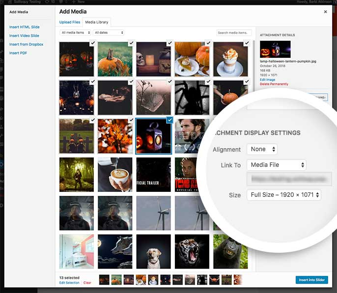 Be sure to set the Link To field to Media File when adding images from the Media Library to automatically link them to their image file to show in Lightbox view.