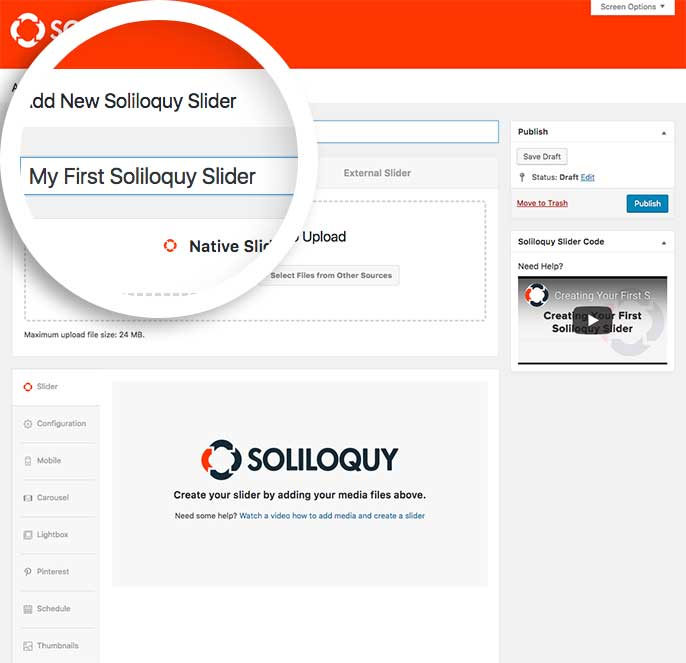 How to create your first slider using Soliloquy Slider