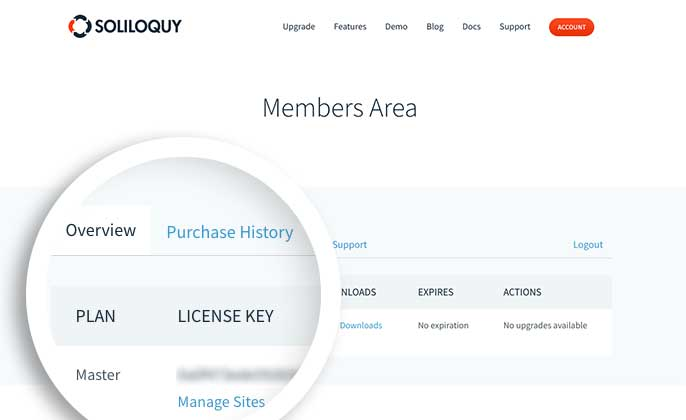 Login to your Soliloquy account and on the Overview tab, copy your license key