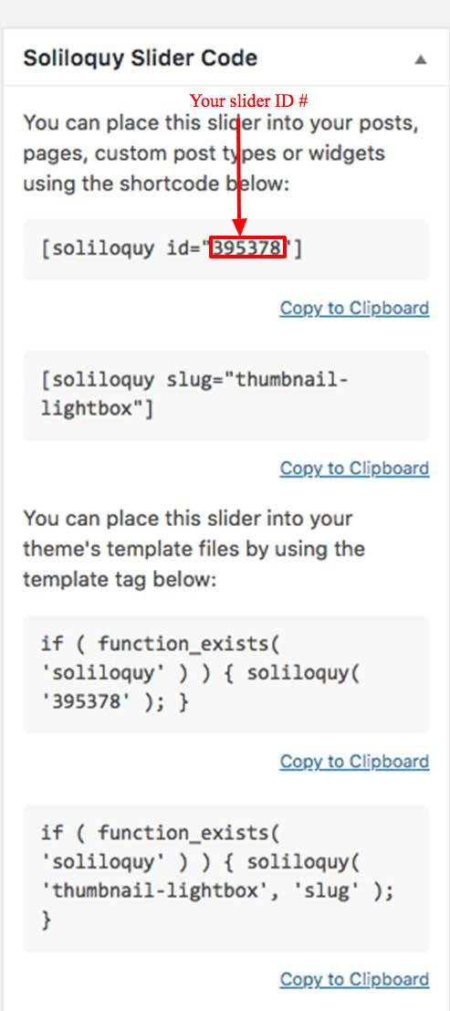Finding your Soliloquy Slider ID number inside the Soliloquy Slider Code Sidebar