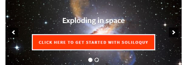 A heavily styled slider, with a background of a galaxy in space
