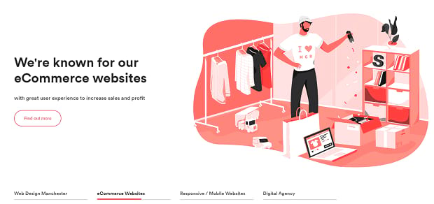 Made By Shape's homepage hero slider, with an illustration of a man working in a room