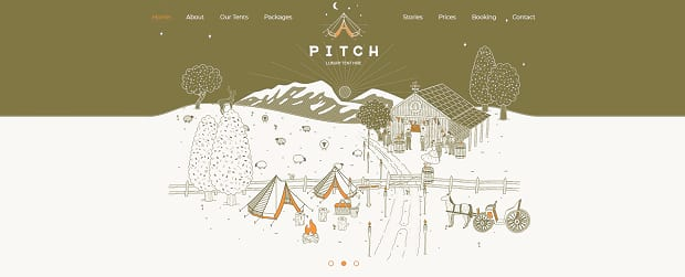 Pitch's illustrated slider, with an image of a camping scene