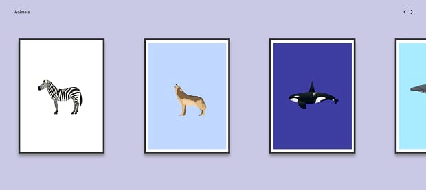 The Cool Club's simple but fun slider, with illustrations of various animals