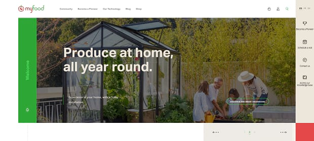 MyFood's homepage slider, with an image of a family planting a garden in their yard