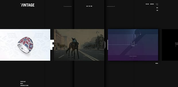 Vintage's homepage slider, with a dark theme and smaller image boxes