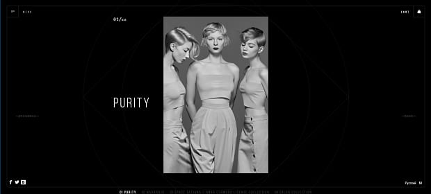 Anna Eshwood's elegant slider, displaying an image of three women posing