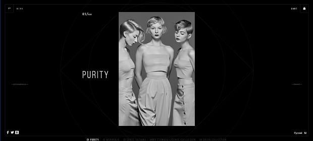 Anna Eshwood's elegant slider, displaying an image of three women posing