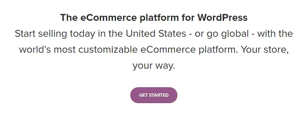 The WooCommerce addon banner, with a simple and minimalist design on a white background