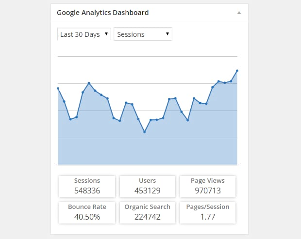 The Google Analytics dashboard, showing a graph of traffic over the past 30 days