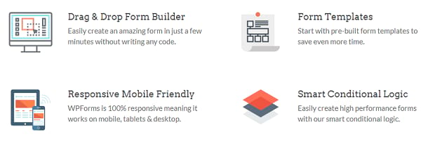A list of features of the WPForms addon, using simple icons by text blurbs