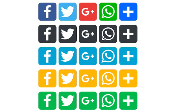 Rows of social media icons for various platforms in several different colors