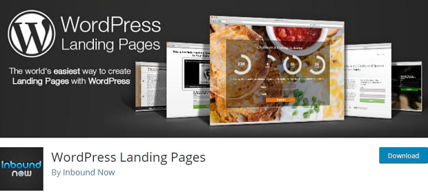 The WordPress Landing Pages banner, showing several example landing pages arranged on a grey background
