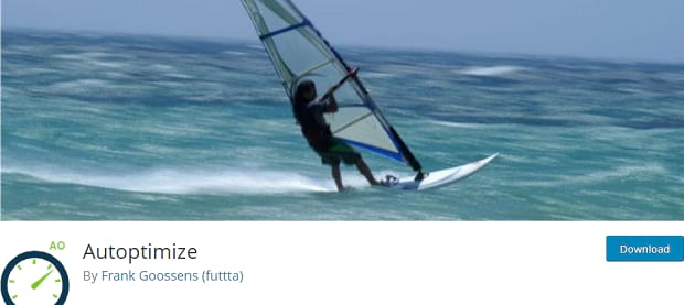 Autoptimize banner, with someone riding on a sailboat