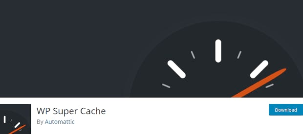WP Super Cache banner, with an illustrated speedometer