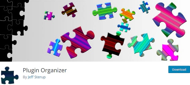 Plugin Organizer's banner, with several brightly colored puzzle pieces