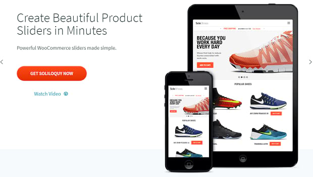 Soliloquy banner, with a slider showing various shoes of sale, shown on both a phone and tablet