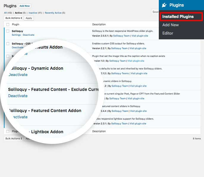 To exclude the current post from your featured content slider, activate the custom plugin