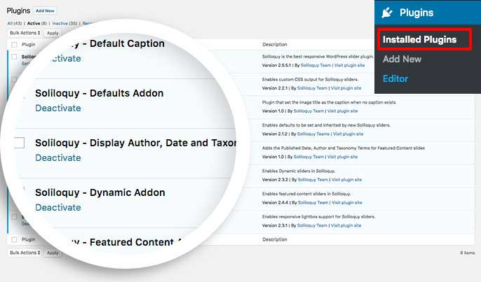 Activate the custom plugin to add the author, date and category to your featured content sliders