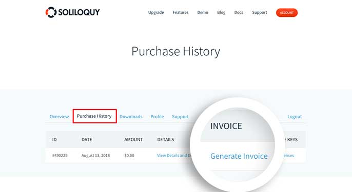 Click the generate invoice link to begin generating your invoice