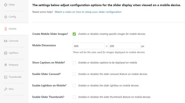 The mobile settings page for the Soliloquy plugin