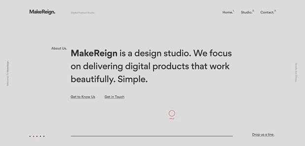 MakeReign's simple, elegant text lider, with a clean font in front of a nice grey background