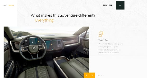 Rivian's Slider, showing the interior of a nice car