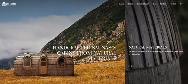 Iglucraft's slider, showing a hand-crafted cabin in from of a mountain
