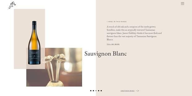 Clemens Hill's slider, showing a bottle of wine on a light, elegant background