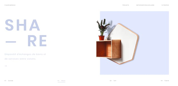 Fleur Moreau's slider, showing a simple and minal wall decor: a small plant on a cube shelf