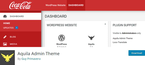 Aquila Admin Theme page, showing an example of a CocaCola themed admin page