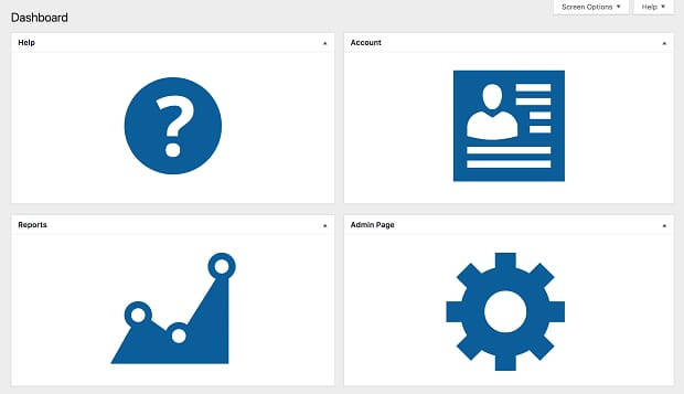A dashboard that's been customized with Client Dash, featuring large blue buttons for different pages