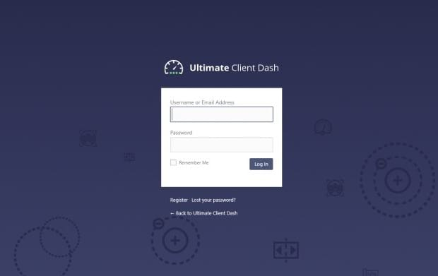 The login page for the Ultimate Client Dash plugin's WordPress dashboard