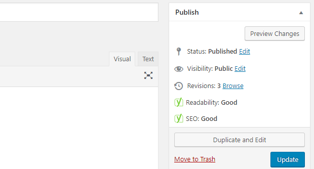 The Yoast SEO icons for readability and SEO on the sidebar of a wordpress post