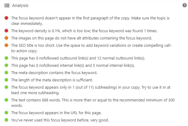 Yoast's SEO analysis, showing various aspects of how well optimized a WordPRess post is