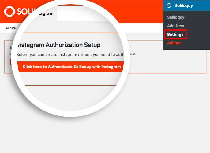 Select the button in the Instagram settings tab to authenticate your Instagram account to create your Instagram slider