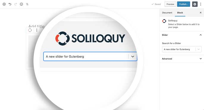 Publish the Gutenberg page to see your slider